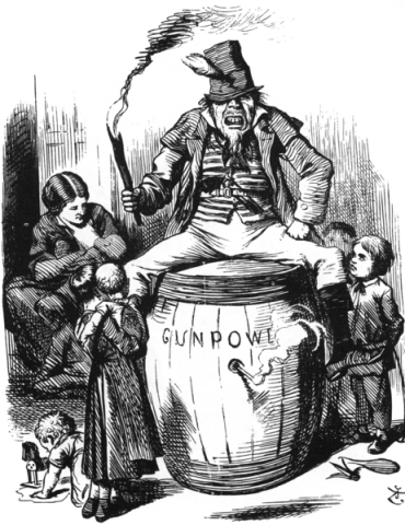 Anti-Irish Catholic Cartoons were common in England. John Tenniel drew this for Punch on 28 December 1867. Tenniel was a major influence on Nast when the latter moved into caricature for Harper's Weekly.