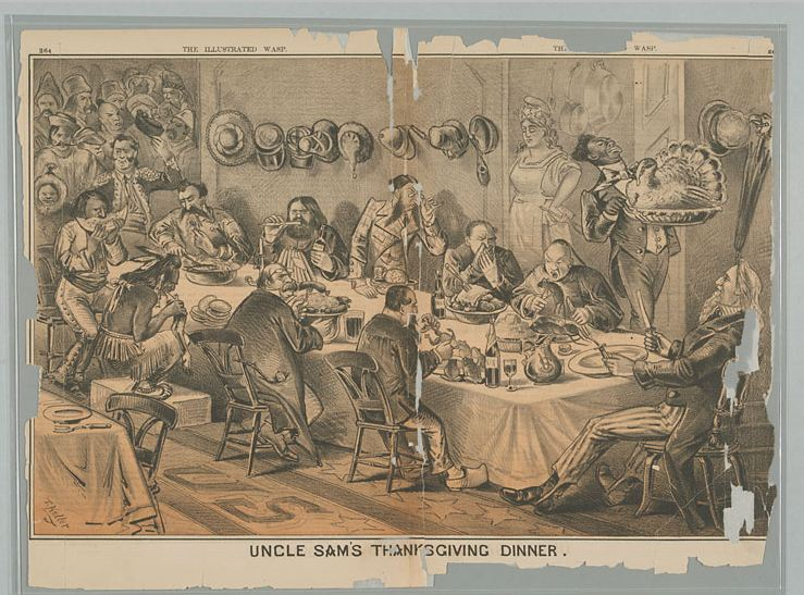 Uncle Sam's Thanksgiving, by G. F. Keller, San Francisco Wasp