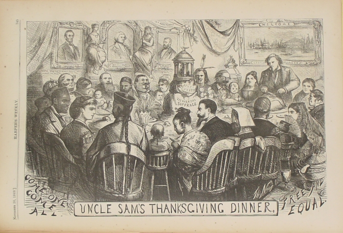 Uncle Sam's Thanksgiving. Harper's Weekly, 1869  Columbia is the hostess