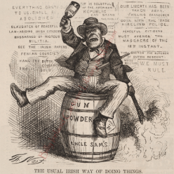 Drunken Irish sitting on top of a gunpowder barrel