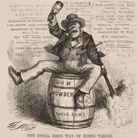 Nast places a drunken Irishman atop a gun powder barrel