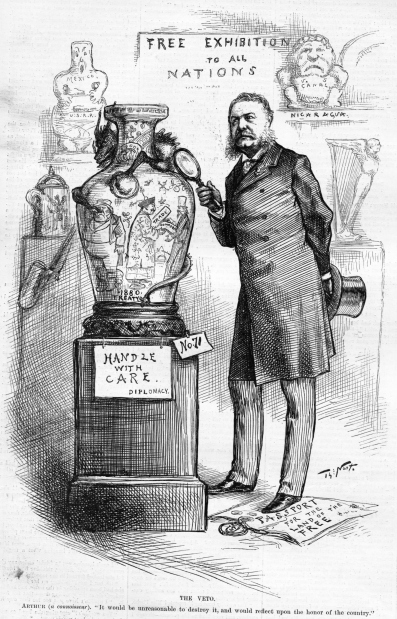 President Chester A Arthur examines a Chinese vase with a magnifying lap