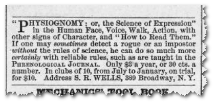 This ad for phrenological services was placed in Harper's Weekly in 1868