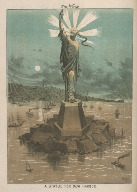 Cartoon of Chinese man as a mockery of the statue of liberty