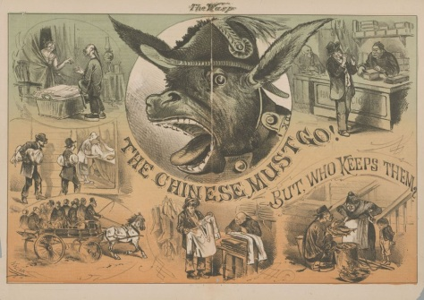 A donkey (Denis Kearney( honks as scenes of Chinese workers surround