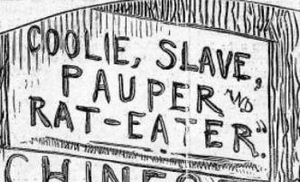 "Detail from Nast's ""The Chinese Question"" 1871. Nast frequently put the declarations of people he disagreed with as backgrounds for his cartoons. They almost never represent his sentiment."
