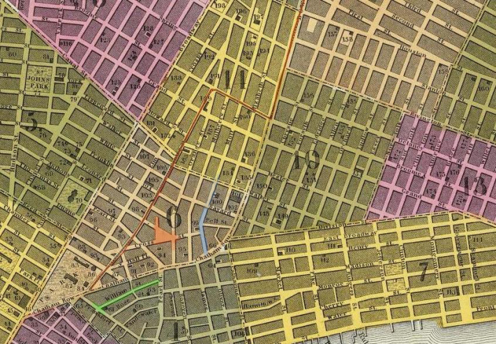 inset of 1846 map of city of new york published by s augustus