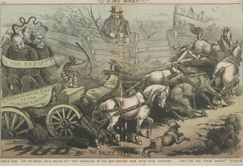Satire cartoon of chinese bound in a wagon drawn by horses