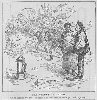 """The Chinese Puzzled"" 15 May1886, by Thomas Nast. Source Walfred"