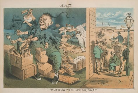 Satire cartoon of Chinese laborer working abnormally fast