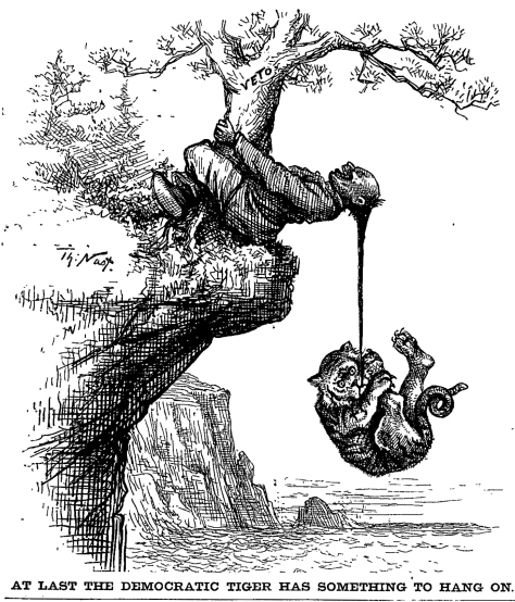 A lion hangs from the queue of a Chinese man