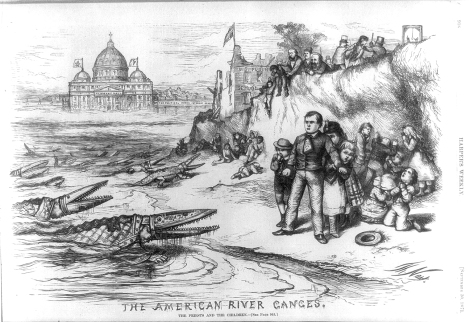 The American River Ganges, Harper's Weekly, September, 1871 by Thomas Nast. Original image of Nast's most famous anti-Catholic image, Tweed was safely out of the picture,literally and figuratively when the image was republished on 8 May, 1875 along with other minor modifications. Library of Congress