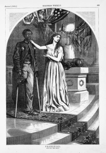 And not this man? Columbia argues for Civil Rights for a wounded African American veteran. Harper's Weekly, August 5, 1859. Library of Congress
