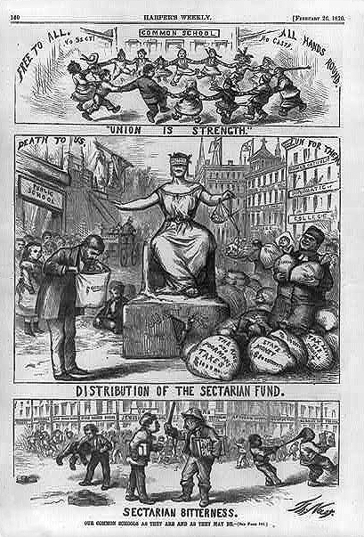 Distribution of Sectarian Funds, 26 February, 1869. Harper's Weekly.  Source: HistSociety.blogspot.com