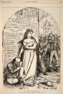 """The Chinese Question"" by Thomas Nast for Harper's Weekly. Feb. 2, 1871"