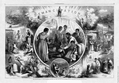 """The Emancipation of Negroes"" by Thomas Nast 24, January, 1863"