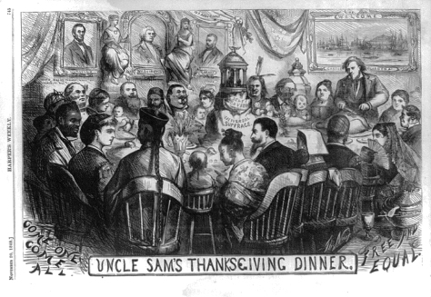 Uncle Sam's Thanksgiving Dinner, 20 November, 1869, by Thomas Nast, Harper's Weekly, Source: Library of Congress