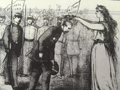 At the top left of the image, Columbia places laurels on the heads of New York CIty policemen, presumably some of whom are Irish, for their valor and adherence to law during the riots.