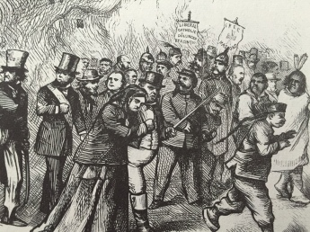 Detail. Walking away from the rioters